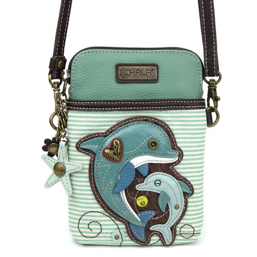 Dolphin - Small Phone /XBody Bag - Teal Stripes - Faux Leather