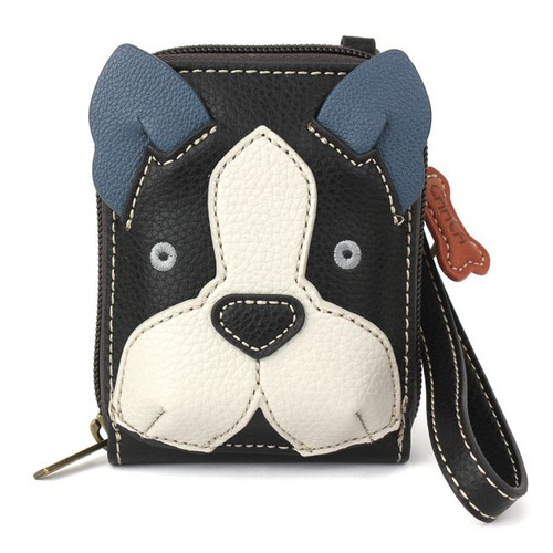 Boston Terrier Dog - Credit Card Holder/ Wallet Wristlet - RFID protected