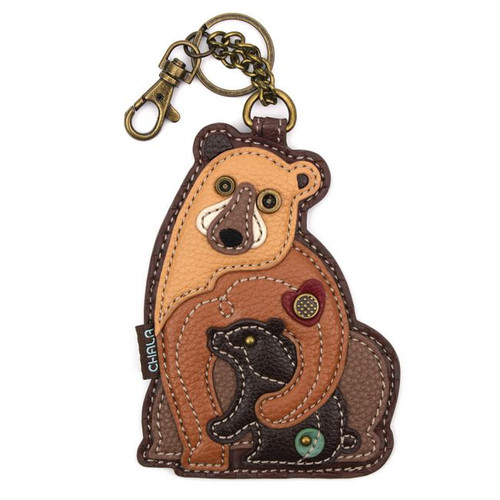 Key Ring/Bag Charm with coin purse - Bears - Faux Leather