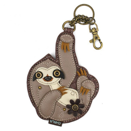 Key Ring/Bag Charm with coin purse - Sloth - Faux Leather