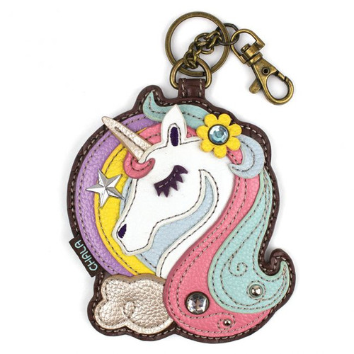 Key Ring/Bag Charm with coin purse - Unicorn - Faux Leather