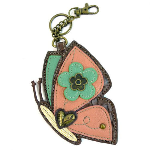 Key Ring/Bag Charm with coin purse - Butterfly  - Faux Leather