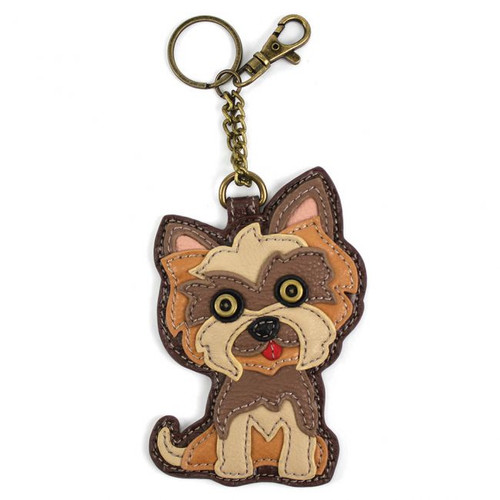 Key Ring/Bag Charm with coin purse - Yorkshire Terrier - Faux Leather