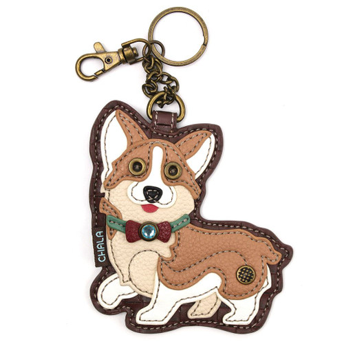 Key Ring/Bag Charm with coin purse - Corgi - Faux Leather