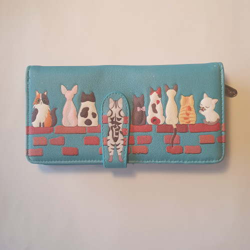 Cats in a Row - Large Wallet -  Teal - Faux Leather