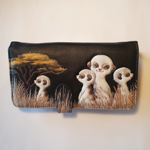 Meerkats - Large Wallet -  Black - Faux Leather