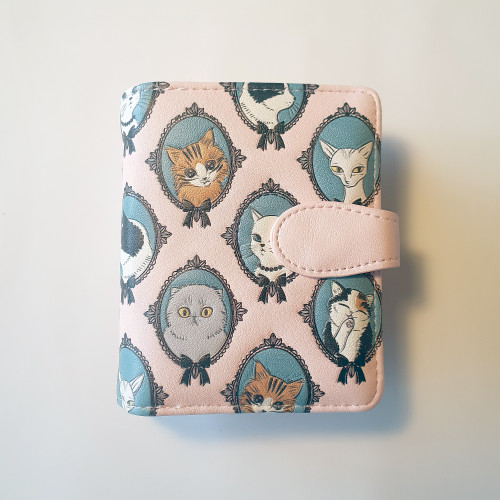 Cat Cameo - Small Wallet - Pink - Faux Leather