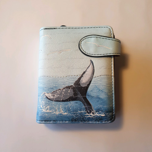 Whale  - Small Wallet - Blue - Faux Leather