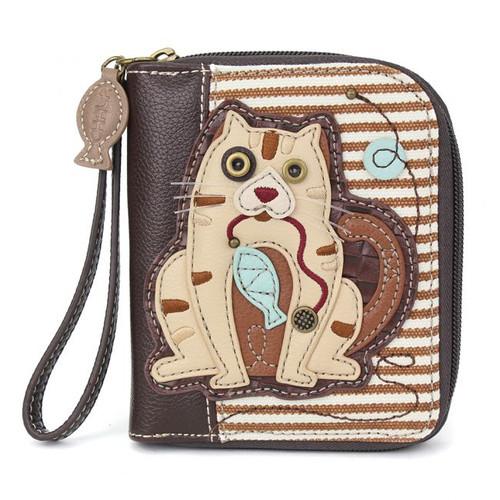 Cat - Zip-Around Wallet - brown stripe - Faux Leather