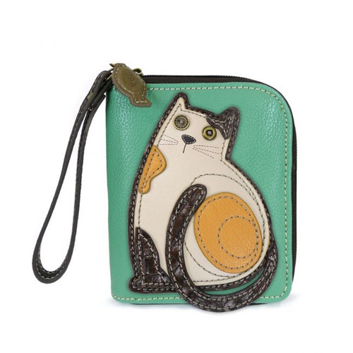 Cat - Zip-Around Wallet - Teal - Faux Leather