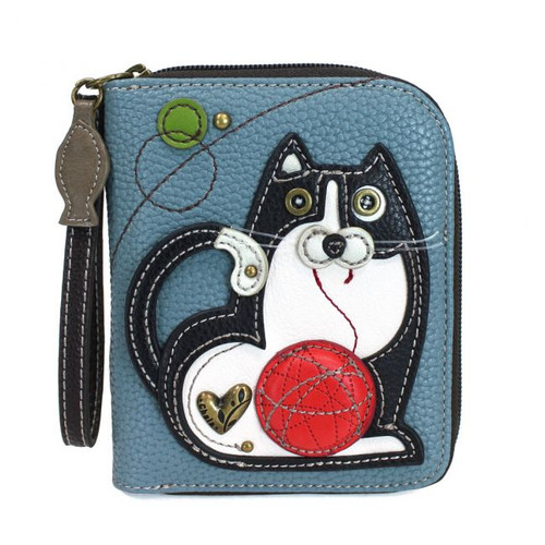 Fat Cat - Zip-Around Wallet - blue grey - Faux Leather