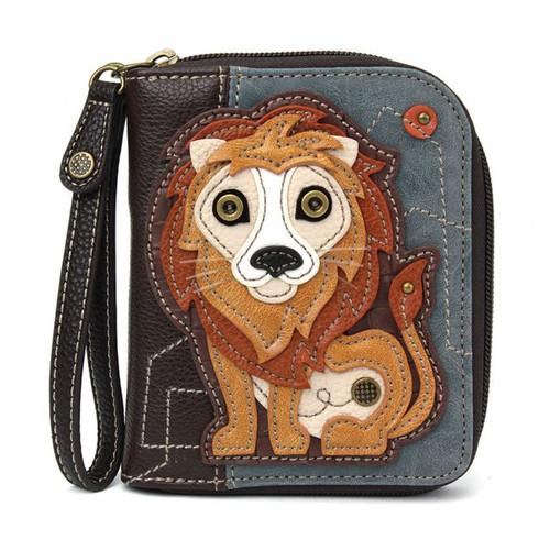 Lion - Zip-Around Wallet - Indigo - Faux Leather