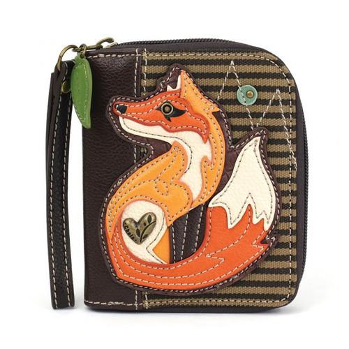 Fox - Zip-Around Wallet - Olive Stripe - Faux Leather