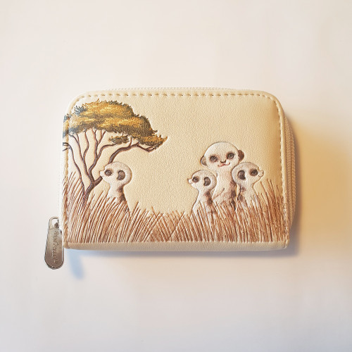 Meerkats- Coin Purse - cream-brown - Faux Leather