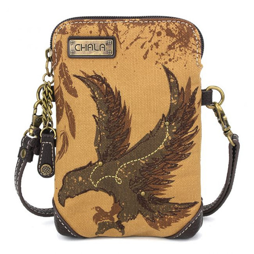 Safari Eagle cross-body bag, brown canvas, front view