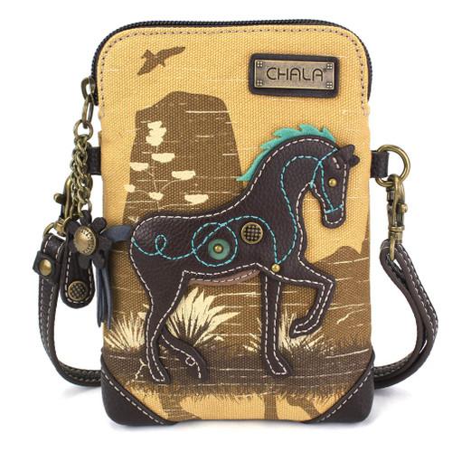 Safari Horse Small Brown Canvas Bag, front view