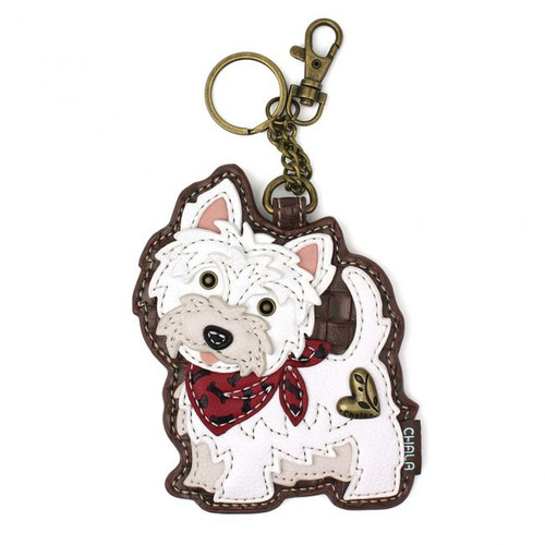 Western Highland Terrier Key Charm front view showing cute Westie dog with red bandana