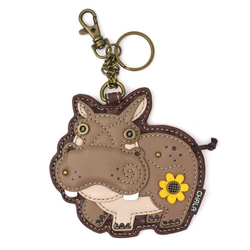 Hippo shaped Key charm with little flower no body, front view