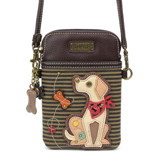 Small hand bag featuring a yellow Labrador with red bandana on olive striped background, front view