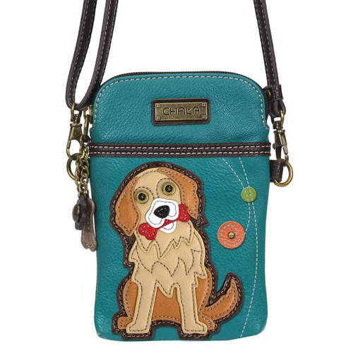 Turquoise small bag featuring a Golden Retriever chewing on a red bone