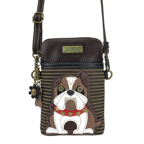 Bulldog - Small Phone /XBody Bag - Brown Stripes - Faux Leather