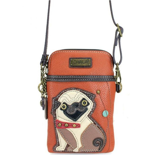 Pug small bag features Pug on orange coloured faux leather, front view
