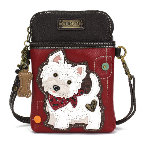 Burgundy small bag featuring a Westie with red bandana, front view