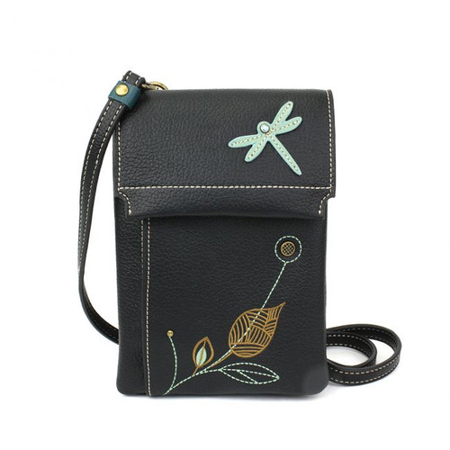 Black Xbody hand bag featuring an embroidered Dragonfly, front view