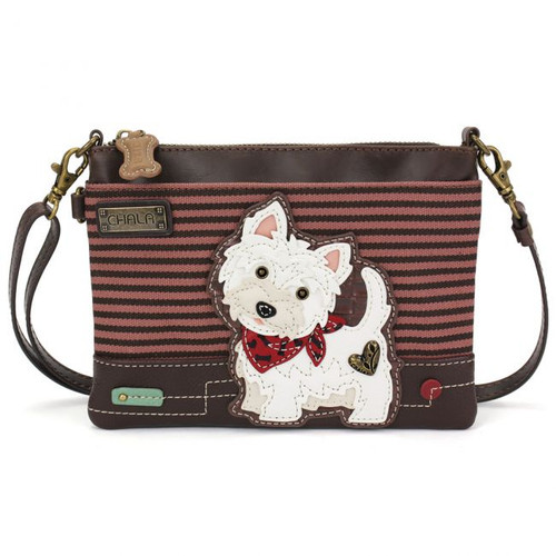 Westie - Mini Cross Body Bag - Burgundy Stripes - Faux Leather