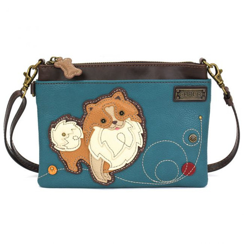 Pomeranian - Mini Cross Body Bag - Turquoise - Faux Leather