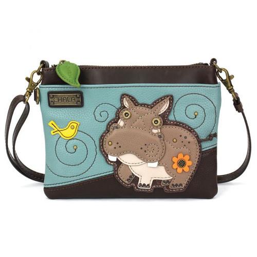 Hippo - Mini Cross Body Bag - Blue - Faux Leather
