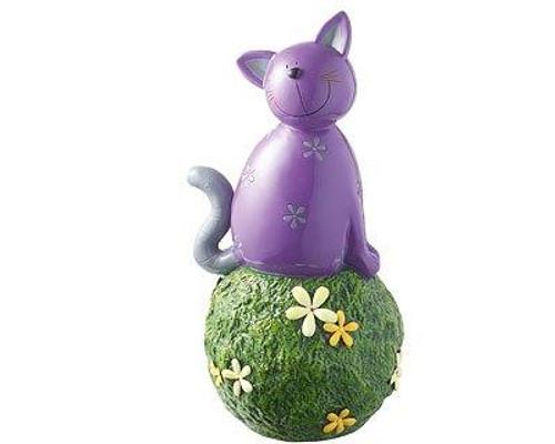 Garden Décor figure - Carlo cat purple - on grass ball - 34 cm
