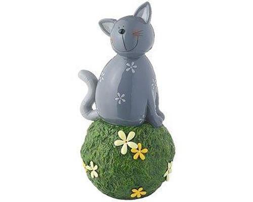 Garden Décor figure - Carlo cat grey - on grass ball - 34 cm