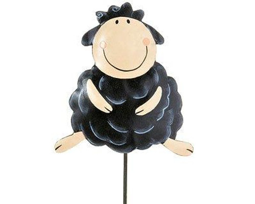 Flower stick - Sheep black - hand painted metal - weather resistant