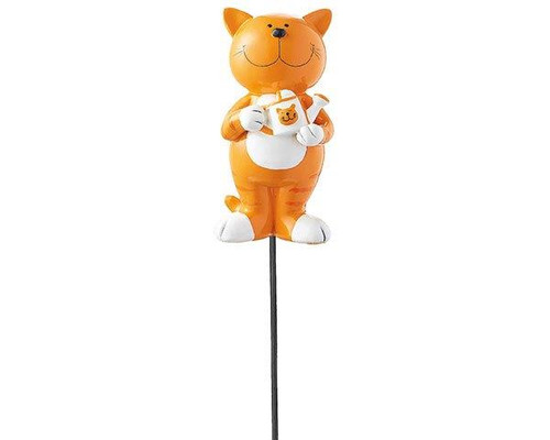Garden Decor Figure - Ginger cat - Oommh cat (yoga cat) with water can - hand painted