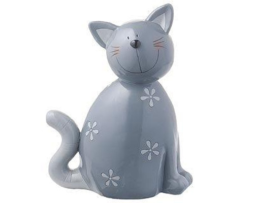 Décor Figure - Carlo cat  - grey - 18 cm - hand painted