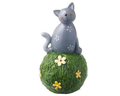 Money bank - Carlo cat on grass ball  - grey - hand painted