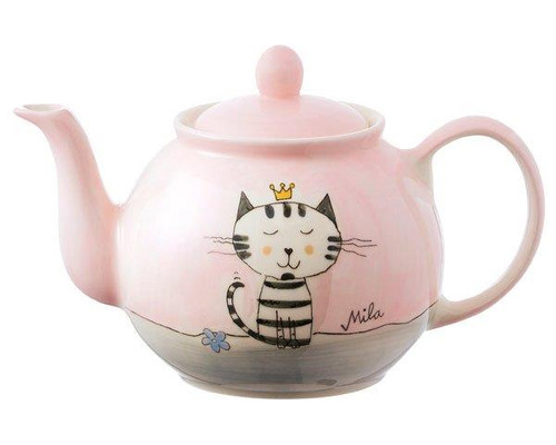 Teapot - Kitty princess Florentinchen - 1.2 L - hand painted - ceramic