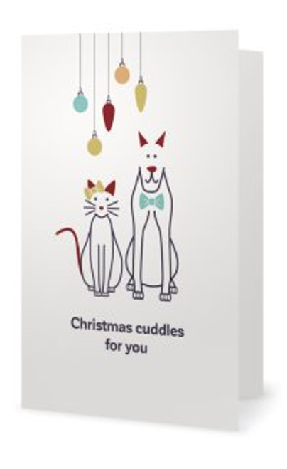 "Animales Christmas Card "" Christmas cuddles for you"""