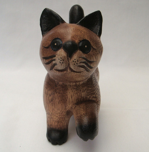 Wooden walking cat, 15 cm - hand carved - Fairtrade