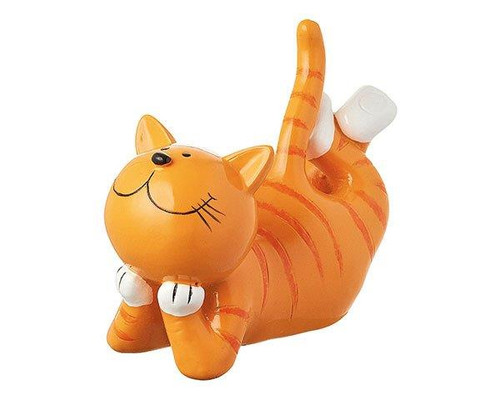 Décor Figure - Ginger cat lying-  16 cm - Polyresin