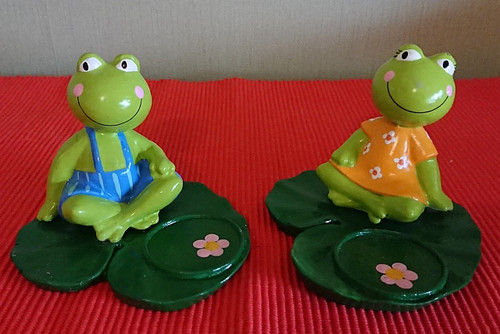 Frog tealight holder - Pond Romance - Polyresin