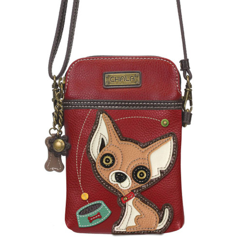 Chihuahua - Small Phone / XBody Bag - Burgundy - Faux Leather