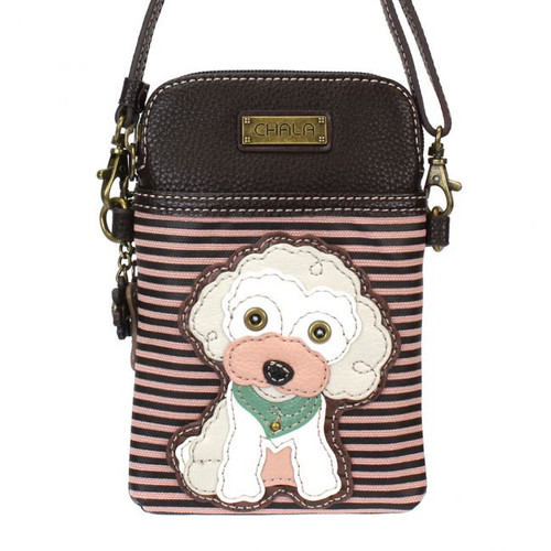 Poodle - Small Phone / XBody Bag -Burgundy stripe - Faux Leather