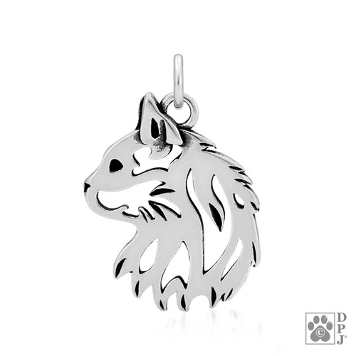 .925 Sterling Silver charm showing a longhaired cat head