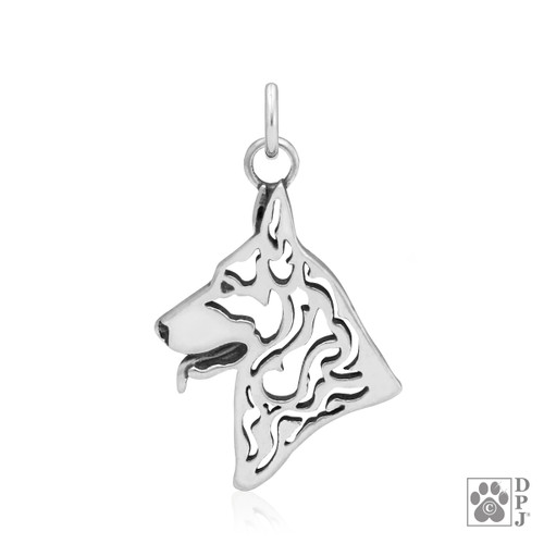 Head of a German Shepherd  charm made from a .925 Sterling Silver pendant
