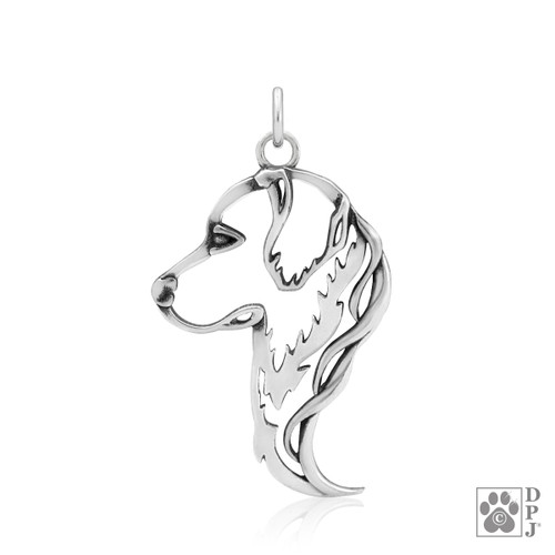 Golden Retriever Head pendant - recycled .925 Sterling Silver
