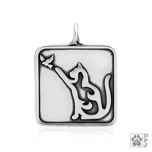 Cat with Bird pendant  - recycled .925 Sterling Silver