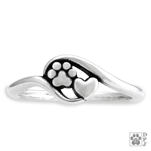 Sterling silver ring featuring a small heart and paw print in a silver frame