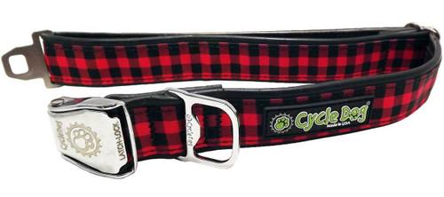 Cycle Dog - Red Plaid - Dog Collar - Medium (30-53 cm) 13.5 - 34 kg